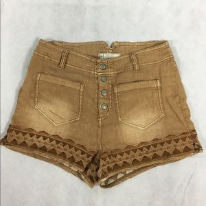 Free People Tan Button Up Shorts Size 8